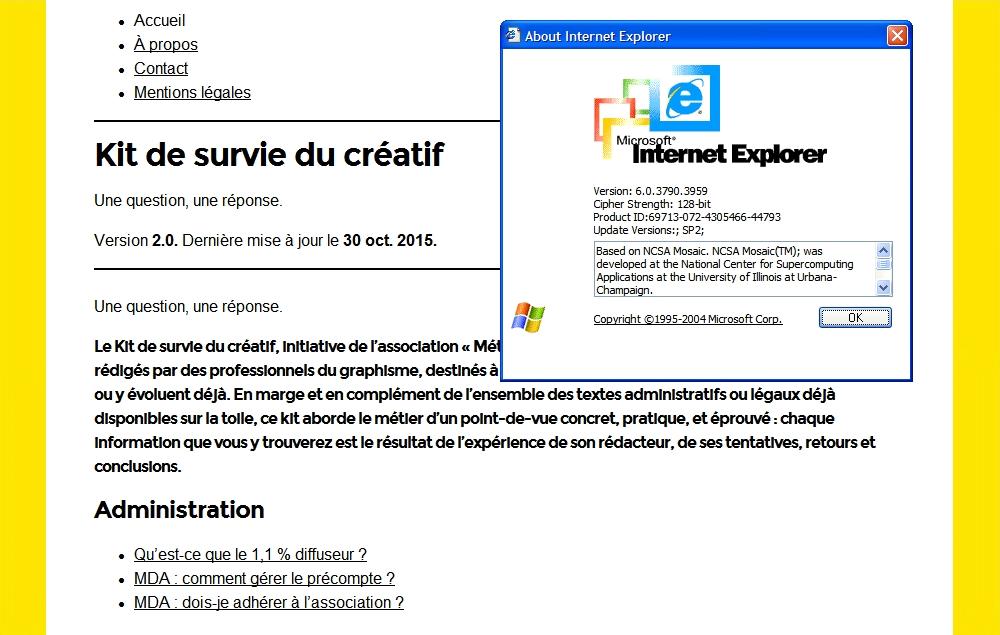 Le site affiché sous IE 6 en mode dégradé.