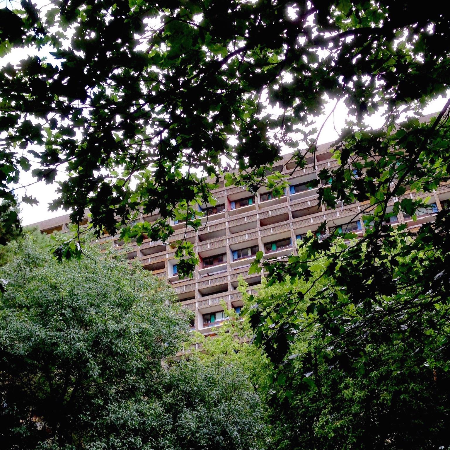 Une vue lointaine de l'édifice, au milieu de la verdure.
